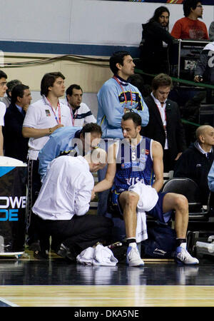 Sept. 11, 2011 - Mar del Plata, Buenos Aires, Argentina - Argentina's MANU GINOBILI gets treatment for a cut hand - Stock Photo