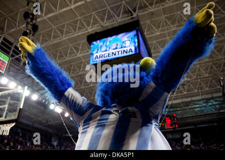 Sept. 11, 2011 - Mar del Plata, Buenos Aires, Argentina - Jay Jay the mascot urges the fans to make more noise. - Stock Photo