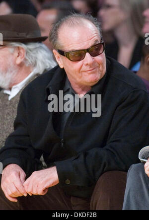 Jan 05, 2007; Los Angeles, CA, USA; Actor JACK NICHOLSON  sits courtside as the Los Angeles Lakers against the Denver - Stock Photo