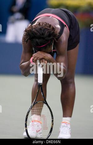 Aug 31, 2007 - New York, NY, USA - SERENA WILLIAMS (USA) in 3rd round action vs Vera Zvonareva (RUS). Williams defeated - Stock Photo