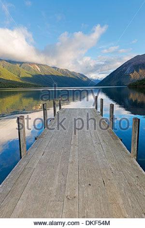 Pier on lake Rotoiti, Nelson Lakes National Park, South Island, New Zealand - Stock Photo