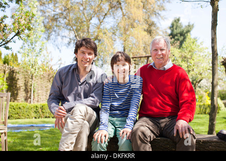 Portrait of three generation family - Stock Photo