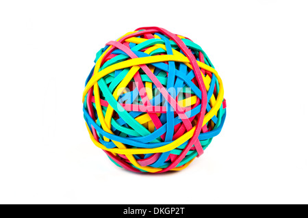 A ball made up from Rubber/Elastic Bands over a white background. - Stock Photo