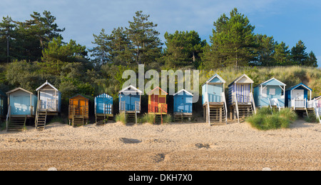The colourful beach huts at Wells next the Sea, Norfolk, England, United Kingdom, Europe - Stock Photo