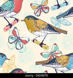 vector  seamless  pattern with colorful birds and butterflies - Stock Photo