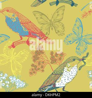 vector seamless pattern with birds,flowers and butterflies - Stock Photo