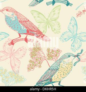 vector seamless pattern with birds ,flowers and butterflies - Stock Photo