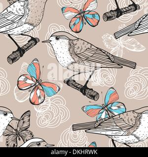 vector seamless floral pattern with birds and butterflies - Stock Photo