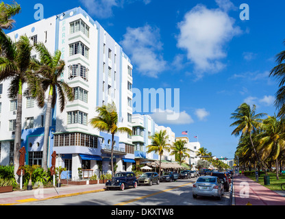 Ocean Drive with Park Central Hotel to the left, South Beach, Miami Beach, Florida, USA - Stock Photo