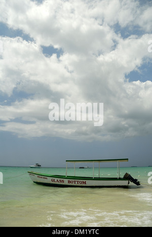 Glass Bottom on 7-Mile Beach on Negril, Jamaica - Stock Photo