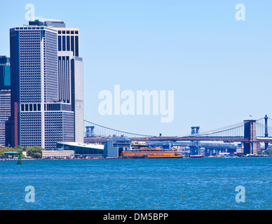 NEW YORK - JULY 25: The famous Staten Island Ferry at the South Street Seaport Terminal on July 25th, 2013 in New - Stock Photo