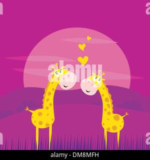 Two yellow african giraffes in love - Stock Photo