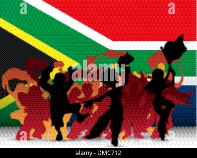 South Africa Sport Fan Crowd with Flag - Stockfoto