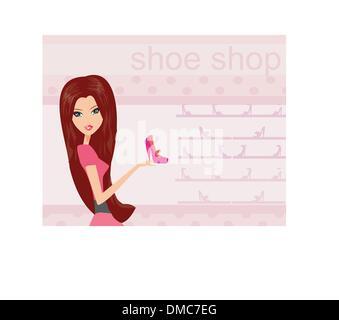 Fashion girl shopping in shoe shop vector illustration - Stock Photo