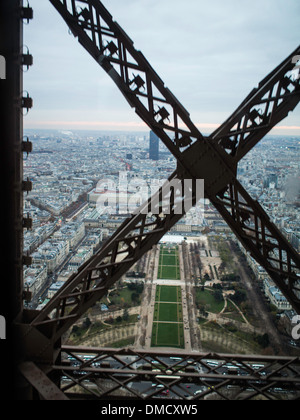 View to the Champs de Mars from the Eiffel tower elevator - Stock Photo