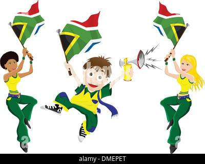 South Africa Sport Fan with Flag and Horn - Stockfoto