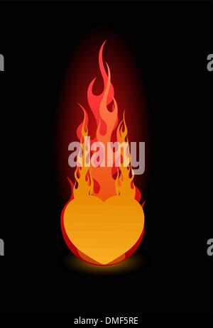 Vector illustration of a glossy heart in fire - Stock Photo