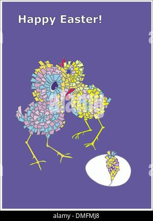 Happy Easter card with chickens - Stock Photo