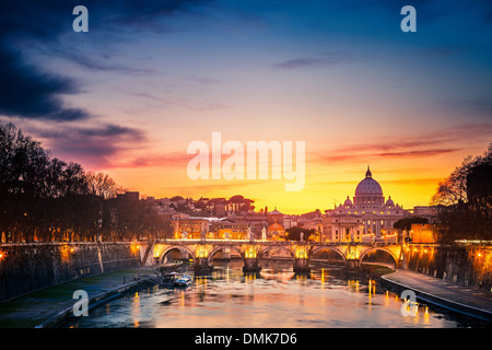 St. Peter's cathedral at night, Rome - Stock Photo