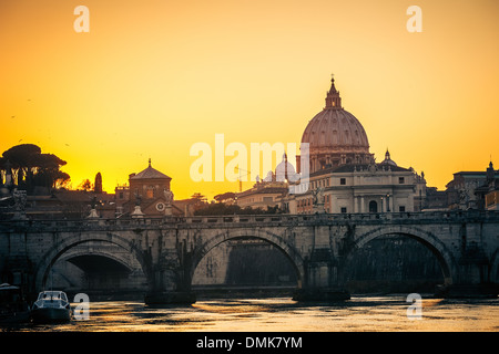 St. Peter's cathedral at dusk, Rome - Stock Photo