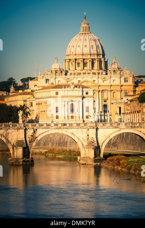 Tiber and St. Peter's cathedral, Rome - Stock Photo