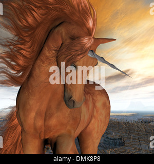 A beautiful chestnut unicorn prances with its wild mane flowing and muscles shining. - Stock Photo