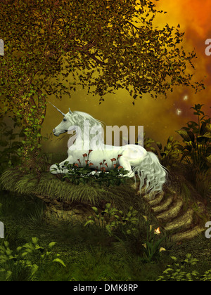 A beautiful white unicorn lays underneath a forest tree to rest among the flowers. - Stock Photo