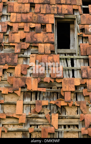 broken roof tile - Stock Photo
