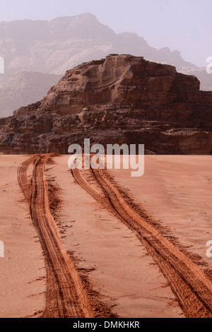 Tracks on the sands @Visit to Wadi Ram - Jordan - Stock Photo