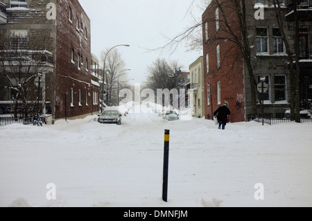 The Plateau in Montreal under a blanket of snow. - Stock Photo