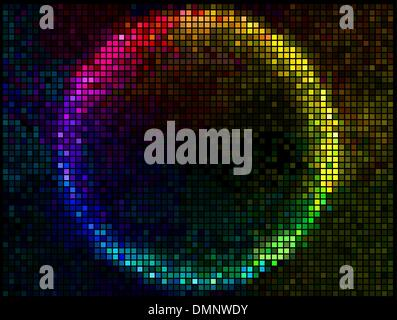 Colorful Round Square Pixel Mosaic Vector Banner.Multicolor Abst - Stock Photo