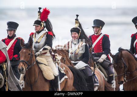 Netherlands, Scheveningen, bicentenary. Historic landing at Scheveningen beach. French army in traditional costume - Stockfoto