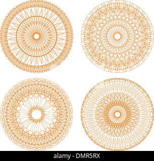 guilloche rosettes certificate or diplomas, decorative elements - Stock Photo