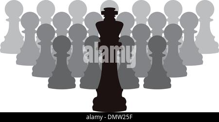 vector chess pieces of a king and pawns - Stock Photo