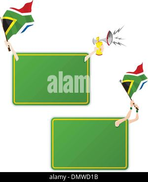 South Africa Sport Message Frame with Flag. Set of Two - Stockfoto
