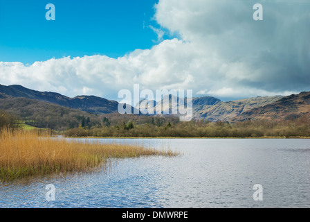 Elterwater and the Langdale Pikes, Lake District National Park, Cumbria, England UK - Stock Photo