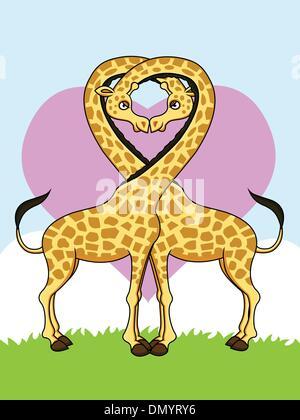 Two funny giraffes in love - Stock Photo