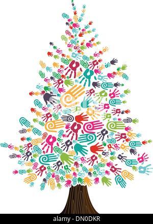 Diversity Christmas Tree hands isolated - Stock Photo