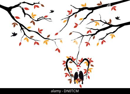 birds on autumn tree in heart nest, vector - Stock Photo