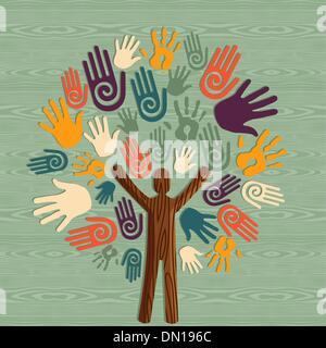 Diversity human tree hands - Stock Photo