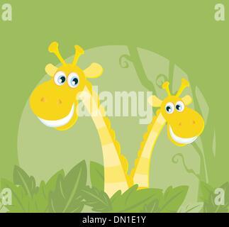 Funny animals - jungle giraffe family - Stock Photo