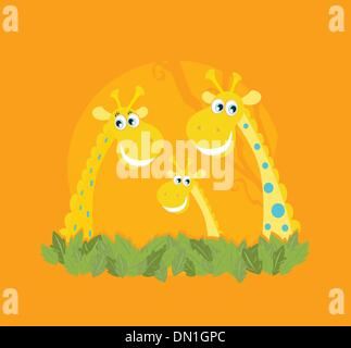 Cute giraffe family portrait - Stock Photo