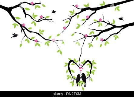 birds on tree in heart nest, vector - Stock Photo