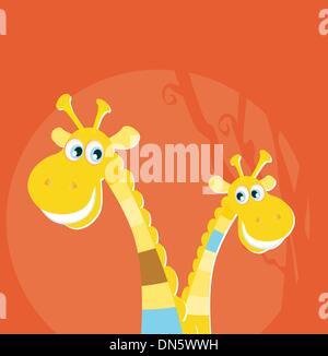 Safari animals - big and small giraffe - Stock Photo