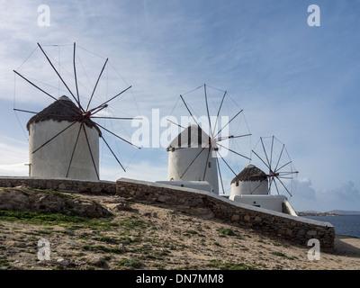 Windmills on Mykonos Greece - Stock Photo