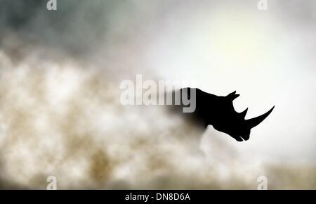 Charging rhino - Stock Photo