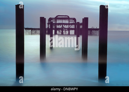 The Remains Of The West Pier, Hove, East Sussex, England, Uk - Stock Photo