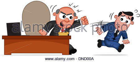 Businessman. Cartoon boss man angry and an employee running away. - Stock Photo