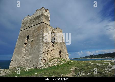 Sfinale Lookout tower, Peschici sul Gargano, Gargano National Park, Foggia, Puglia, Italy - Stock Photo
