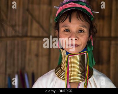 Karen Long Neck woman in hill tribe village near Chiang Mai, Thailand. - Stock Photo